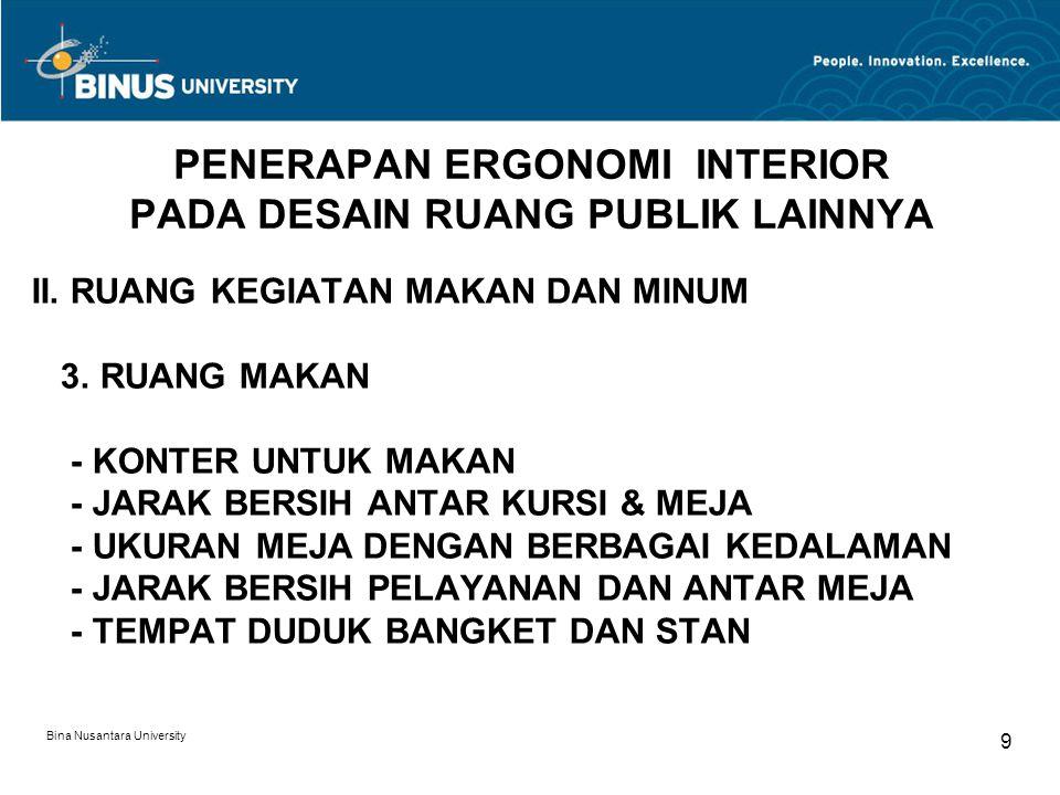 Bina Nusantara University 9 PENERAPAN ERGONOMI INTERIOR PADA DESAIN RUANG PUBLIK LAINNYA II. RUANG KEGIATAN MAKAN DAN MINUM 3. RUANG MAKAN - KONTER UN