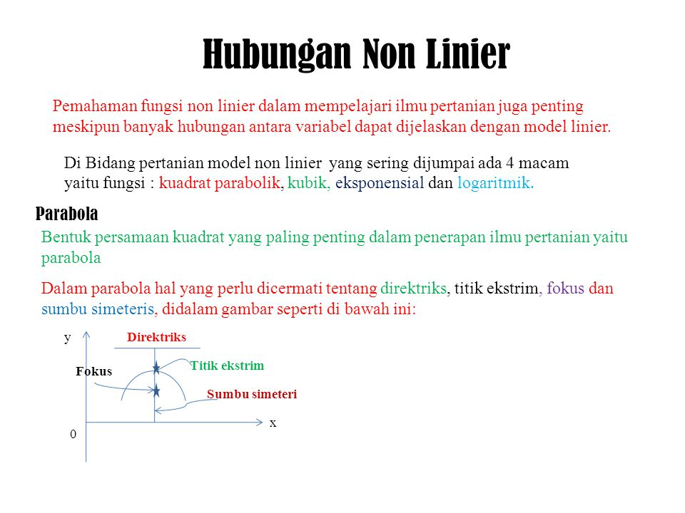 Parabola adalah tempat kedudukan titik titik yg berjarak sama terhadap sebuah titik fokus dan sebuah garis lurus yang disebut direktriks Setiap parabola mempunyai sebuah sumbu simetri dan sebuah titik ekstrim.