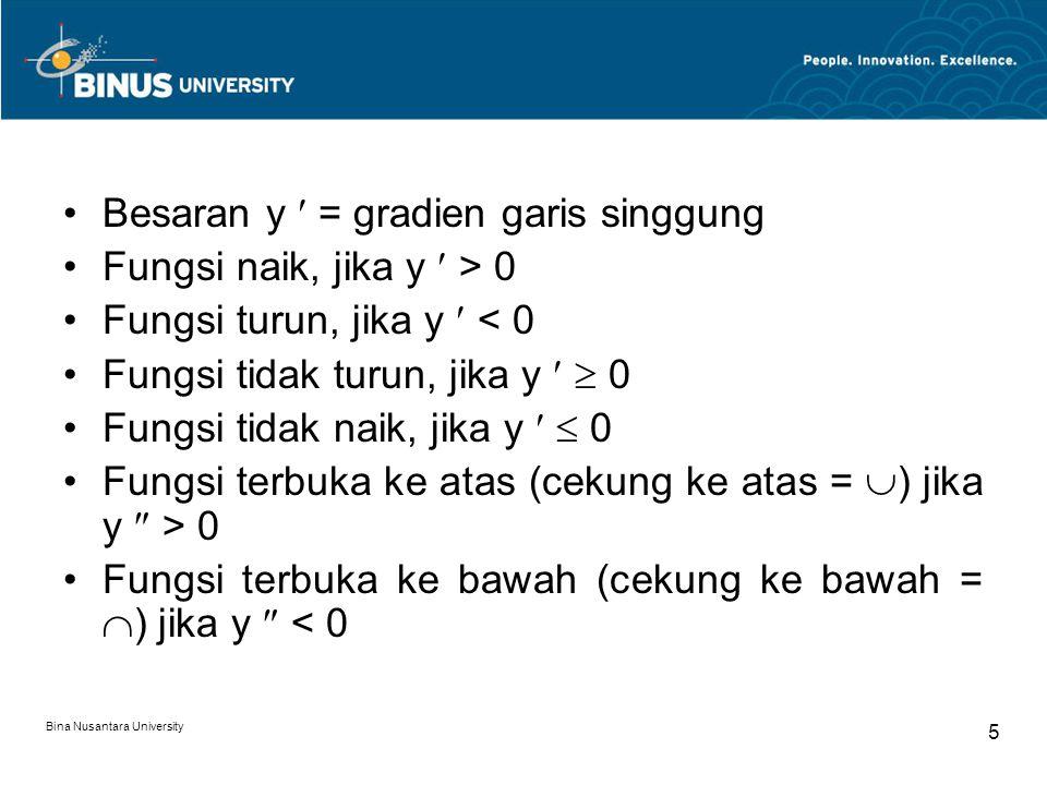 Bina Nusantara University 5 Besaran y = gradien garis singgung Fungsi naik, jika y > 0 Fungsi turun, jika y < 0 Fungsi tidak turun, jika y  0 Fungsi