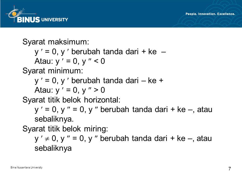 Bina Nusantara University 8 Menggambar Kurva Titik potong dengan sb x dan y (bila mungkin) Asimtut datar, tegak, miring bila ada Kurva naik/turun, titik-titik maks, min, belok horizontal, dan belok miring Buat daftar harga sekitar titik-titik maks,min, belok Contoh: y = x 3 – 3x + 2y = x 2 (x – 1) y = 4x 2 – 2x 4 y = x 3 (x – 1) y = 3x 5 – 5x 3