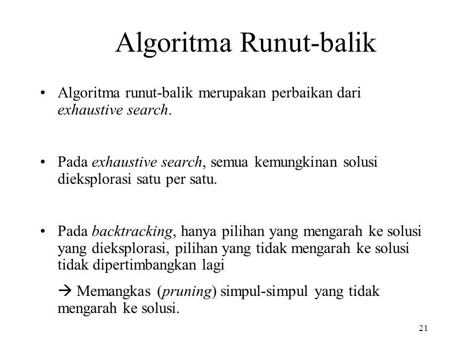 Algoritma runut-balik merupakan perbaikan dari exhaustive search.