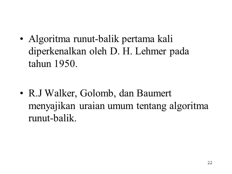 22 Algoritma runut-balik pertama kali diperkenalkan oleh D.