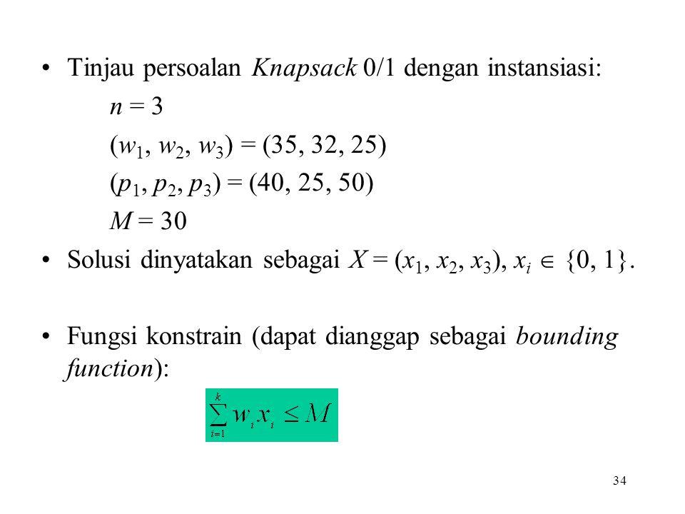 34 Tinjau persoalan Knapsack 0/1 dengan instansiasi: n = 3 (w 1, w 2, w 3 ) = (35, 32, 25) (p 1, p 2, p 3 ) = (40, 25, 50) M = 30 Solusi dinyatakan sebagai X = (x 1, x 2, x 3 ), x i  {0, 1}.