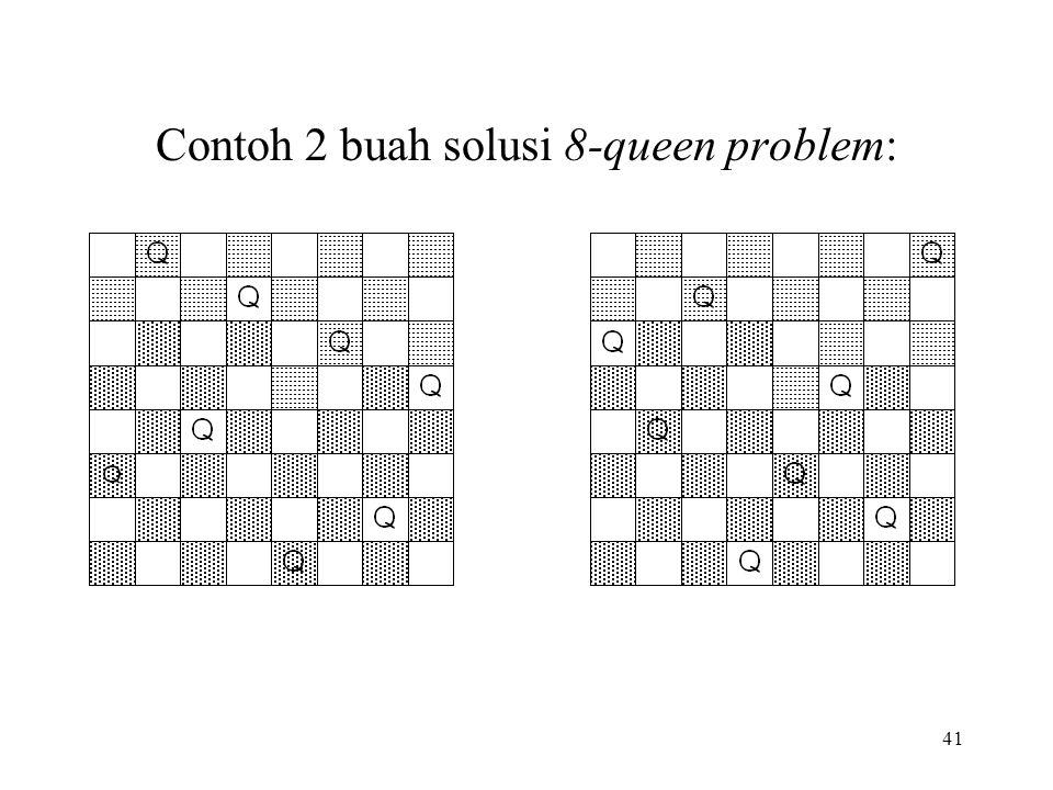 41 Contoh 2 buah solusi 8-queen problem: