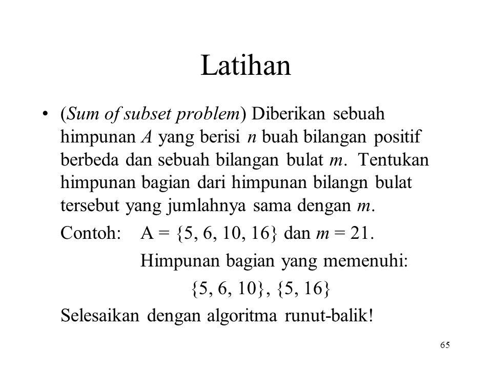 Latihan (Sum of subset problem) Diberikan sebuah himpunan A yang berisi n buah bilangan positif berbeda dan sebuah bilangan bulat m.