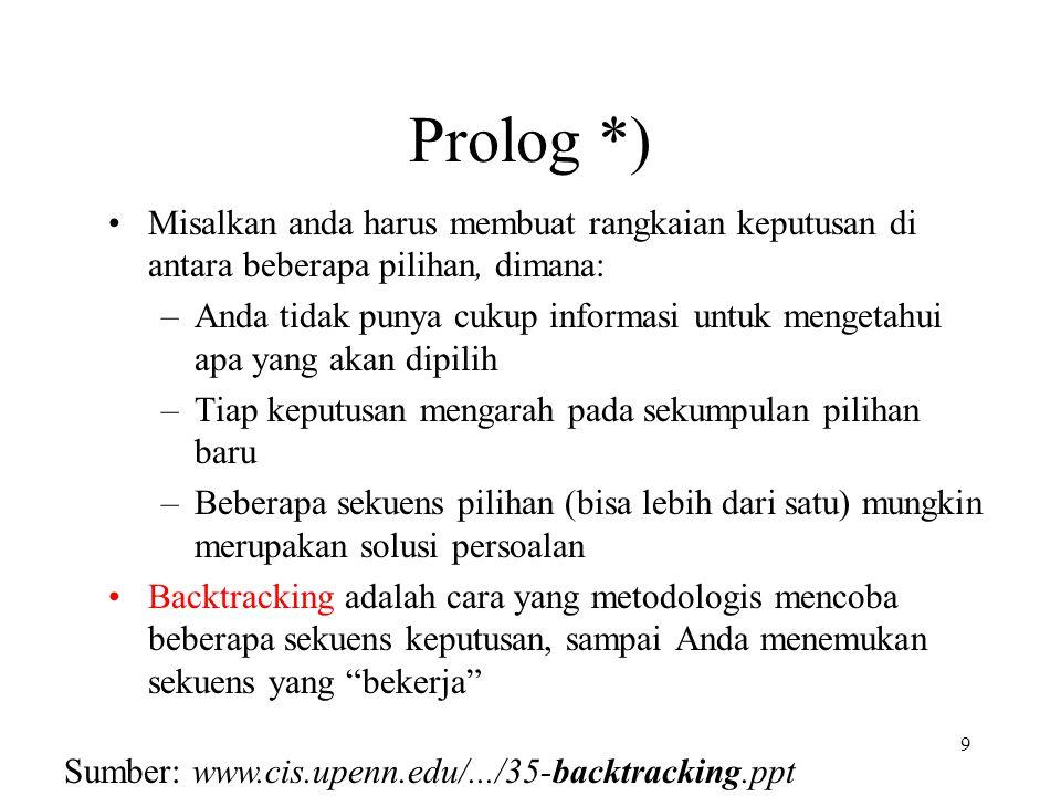 Prolog *) Misalkan anda harus membuat rangkaian keputusan di antara beberapa pilihan, dimana: –Anda tidak punya cukup informasi untuk mengetahui apa yang akan dipilih –Tiap keputusan mengarah pada sekumpulan pilihan baru –Beberapa sekuens pilihan (bisa lebih dari satu) mungkin merupakan solusi persoalan Backtracking adalah cara yang metodologis mencoba beberapa sekuens keputusan, sampai Anda menemukan sekuens yang bekerja 9 Sumber: www.cis.upenn.edu/.../35-backtracking.ppt