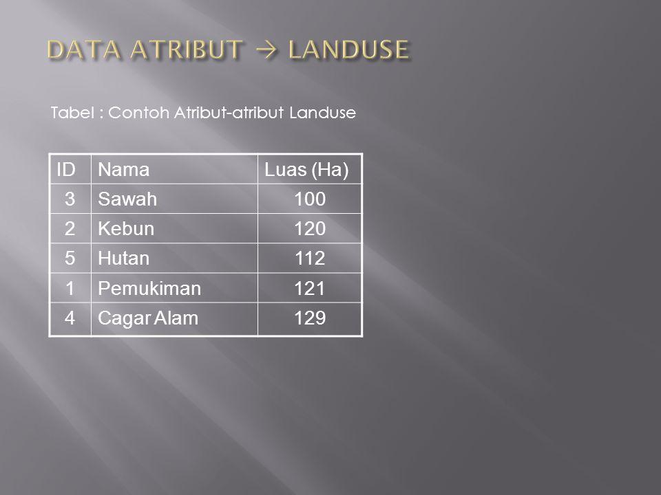 Tabel : Contoh Atribut-atribut Landuse IDNamaLuas (Ha) 3Sawah100 2Kebun120 5Hutan112 1Pemukiman121 4Cagar Alam129