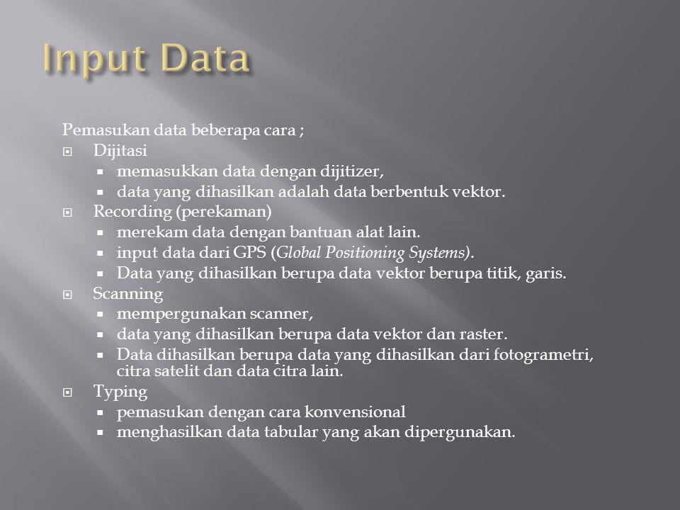 Pemasukan data beberapa cara ;  Dijitasi  memasukkan data dengan dijitizer,  data yang dihasilkan adalah data berbentuk vektor.  Recording (pereka