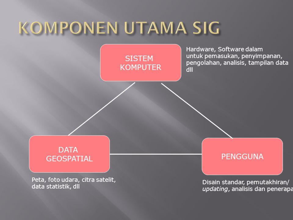 SISTEM KOMPUTER Hardware, Software dalam untuk pemasukan, penyimpanan, pengolahan, analisis, tampilan data dll PENGGUNA Disain standar, pemutakhiran/