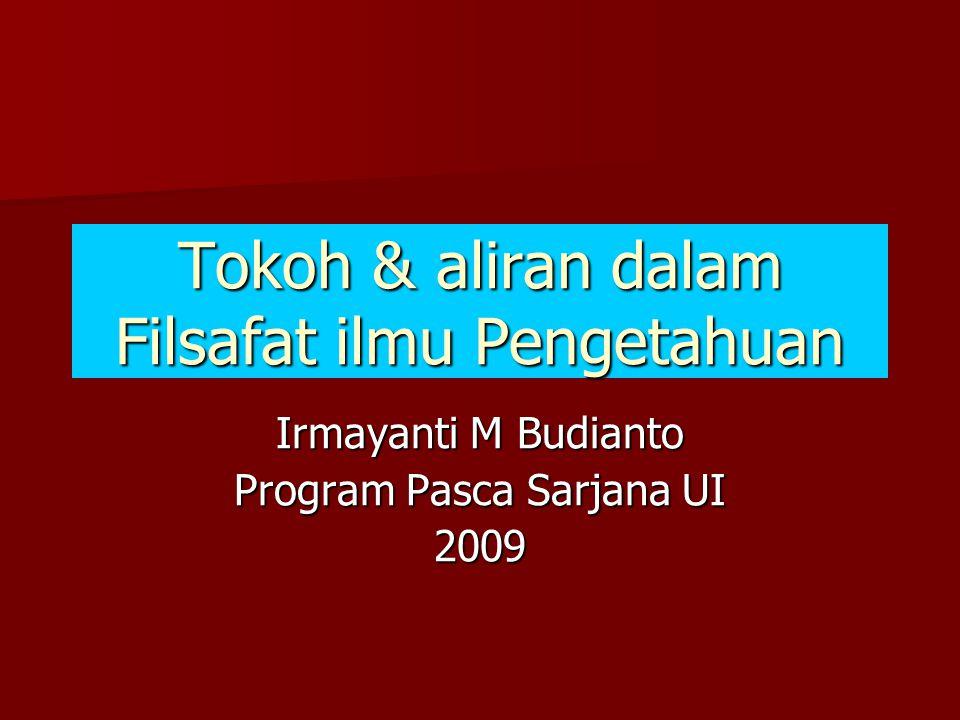 Tokoh & aliran dalam Filsafat ilmu Pengetahuan Irmayanti M Budianto Program Pasca Sarjana UI 2009