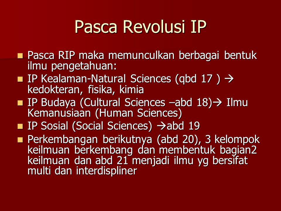 Pasca Revolusi IP Pasca RIP maka memunculkan berbagai bentuk ilmu pengetahuan: Pasca RIP maka memunculkan berbagai bentuk ilmu pengetahuan: IP Kealama