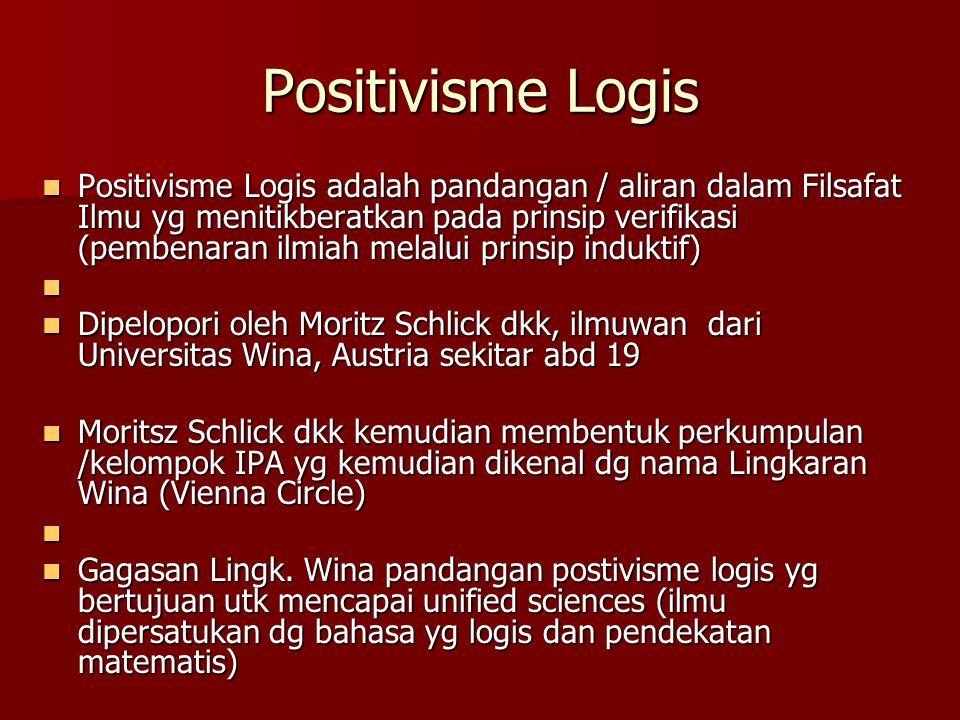 Positivisme Logis Positivisme Logis adalah pandangan / aliran dalam Filsafat Ilmu yg menitikberatkan pada prinsip verifikasi (pembenaran ilmiah melalu