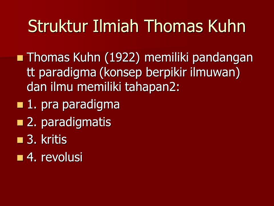 Struktur Ilmiah Thomas Kuhn Thomas Kuhn (1922) memiliki pandangan tt paradigma (konsep berpikir ilmuwan) dan ilmu memiliki tahapan2: Thomas Kuhn (1922