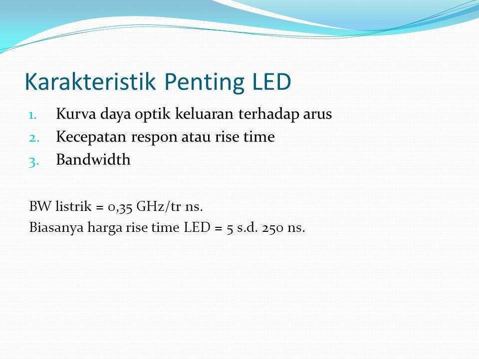 Karakteristik Penting LED 1. Kurva daya optik keluaran terhadap arus 2. Kecepatan respon atau rise time 3. Bandwidth BW listrik = 0,35 GHz/tr ns. Bias