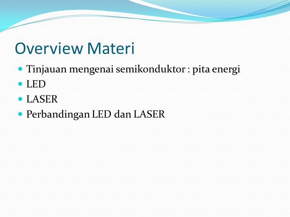 Overview Materi Tinjauan mengenai semikonduktor : pita energi LED LASER Perbandingan LED dan LASER