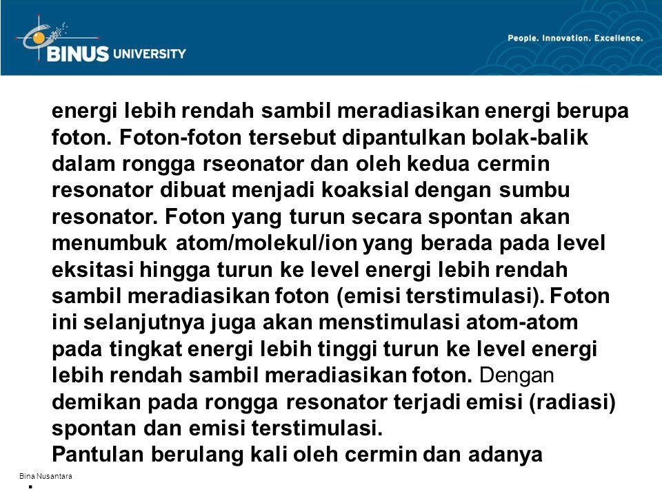 Bina Nusantara energi lebih rendah sambil meradiasikan energi berupa foton. Foton-foton tersebut dipantulkan bolak-balik dalam rongga rseonator dan ol