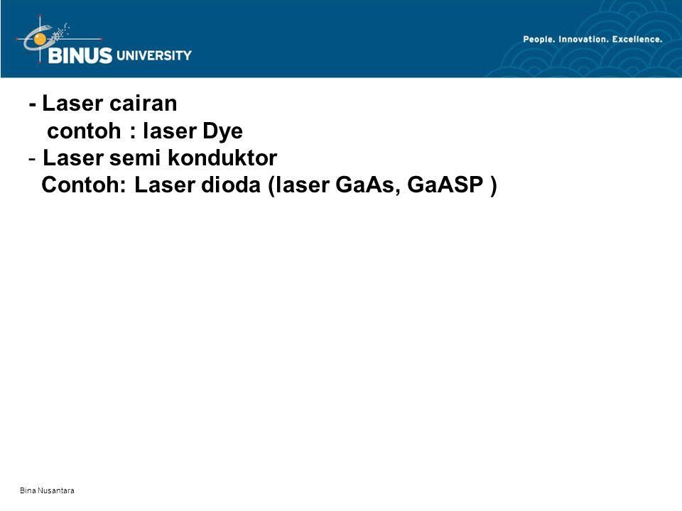 Bina Nusantara - Laser cairan contoh : laser Dye - Laser semi konduktor Contoh: Laser dioda (laser GaAs, GaASP )