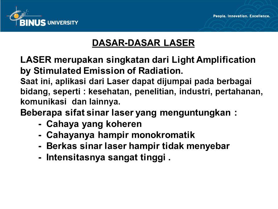 DASAR-DASAR LASER LASER merupakan singkatan dari Light Amplification by Stimulated Emission of Radiation. Saat ini, aplikasi dari Laser dapat dijumpai