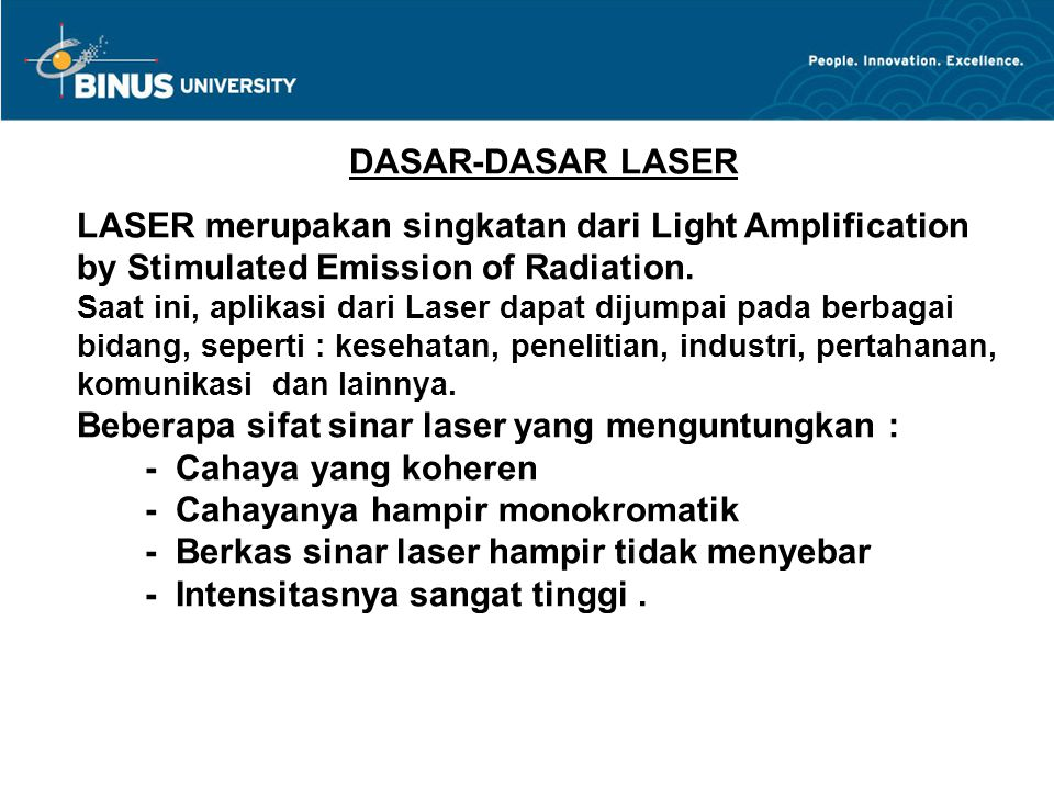 Bina Nusantara 1.Interaksi Materi Dengan Cahaya.