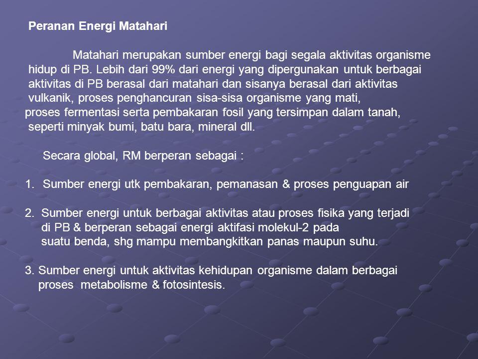 Peranan Energi Matahari Matahari merupakan sumber energi bagi segala aktivitas organisme hidup di PB. Lebih dari 99% dari energi yang dipergunakan unt