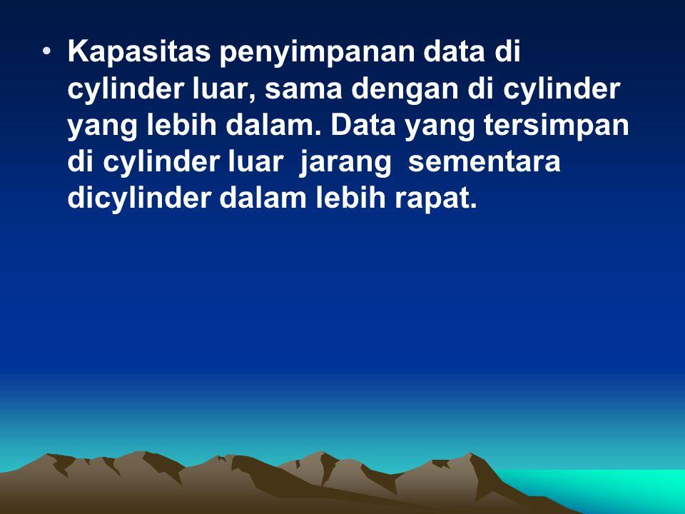Kapasitas penyimpanan data di cylinder luar, sama dengan di cylinder yang lebih dalam. Data yang tersimpan di cylinder luar jarang sementara dicylinde