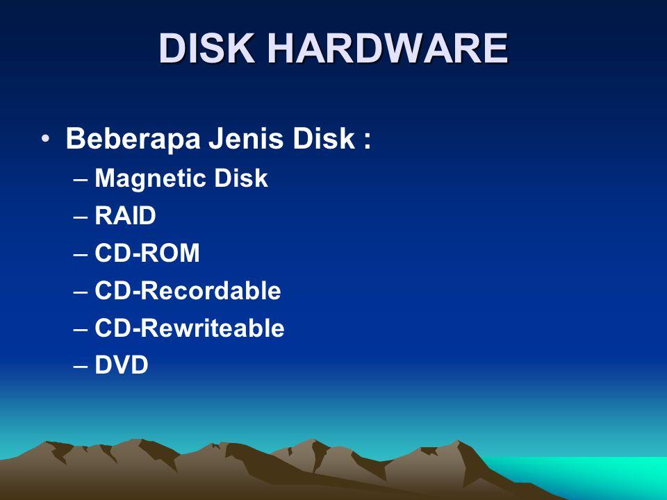 DISK HARDWARE Beberapa Jenis Disk : –Magnetic Disk –RAID –CD-ROM –CD-Recordable –CD-Rewriteable –DVD