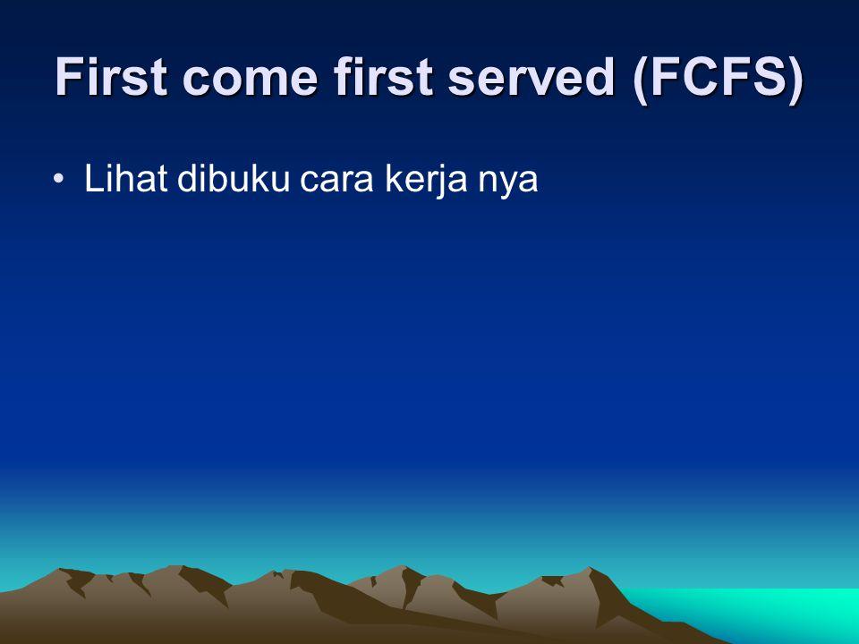 First come first served (FCFS) Lihat dibuku cara kerja nya