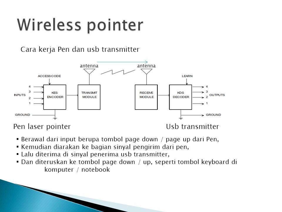 Fungsi : 1.Memudahkan untuk presentasi, tidak perlu bolak-balik ke komputer/notebook jika hanya menekan tombol page up/ page down 2.Cahaya laser untuk menunjukan sesuatu yang dipresentasikan Cara penggunaan : 1.Tancapkan usb transmitter ke komputer/notebook 2.Kemudian tunggu hingga indicator LED menyala kedap-kedip 3.Wireless pointer siap digunakan, tekan page up / page down