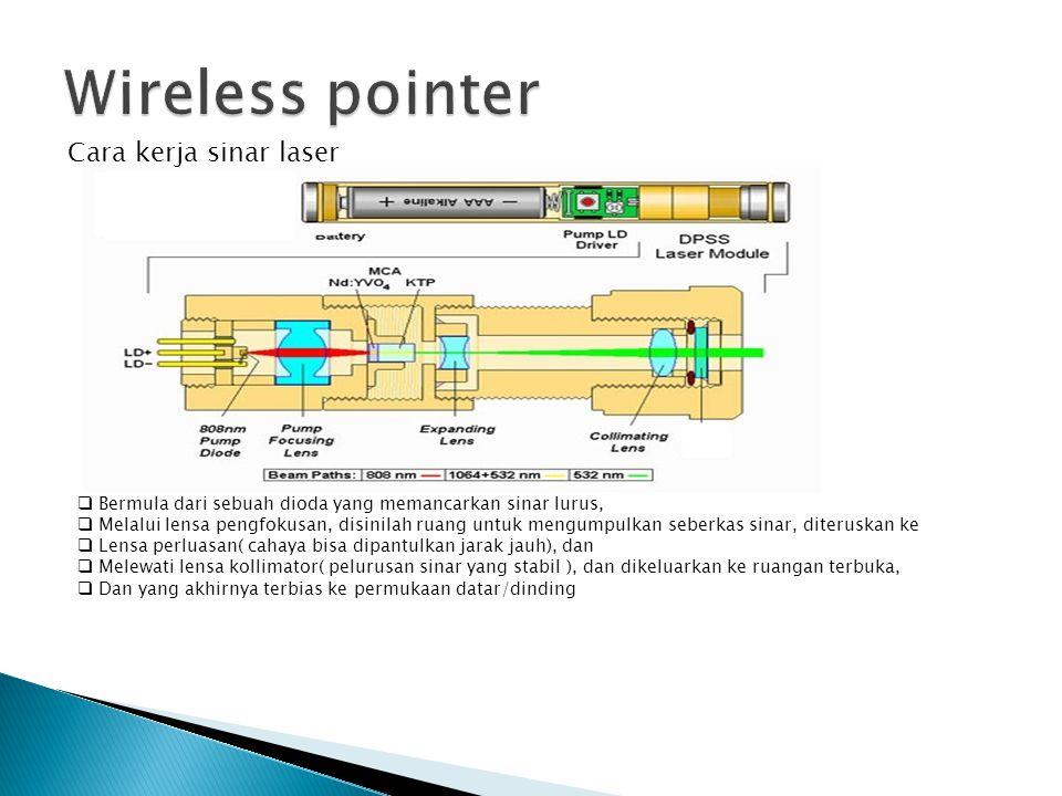 Cara kerja sinar laser  Bermula dari sebuah dioda yang memancarkan sinar lurus,  Melalui lensa pengfokusan, disinilah ruang untuk mengumpulkan seberkas sinar, diteruskan ke  Lensa perluasan( cahaya bisa dipantulkan jarak jauh), dan  Melewati lensa kollimator( pelurusan sinar yang stabil ), dan dikeluarkan ke ruangan terbuka,  Dan yang akhirnya terbias ke permukaan datar/dinding