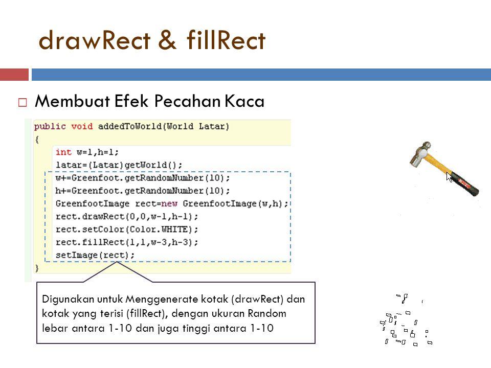 drawRect & fillRect  Membuat Efek Pecahan Kaca Digunakan untuk Menggenerate kotak (drawRect) dan kotak yang terisi (fillRect), dengan ukuran Random l