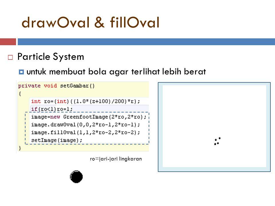 drawOval & fillOval  Particle System  untuk membuat bola agar terlihat lebih berat ro=jari-jari lingkaran