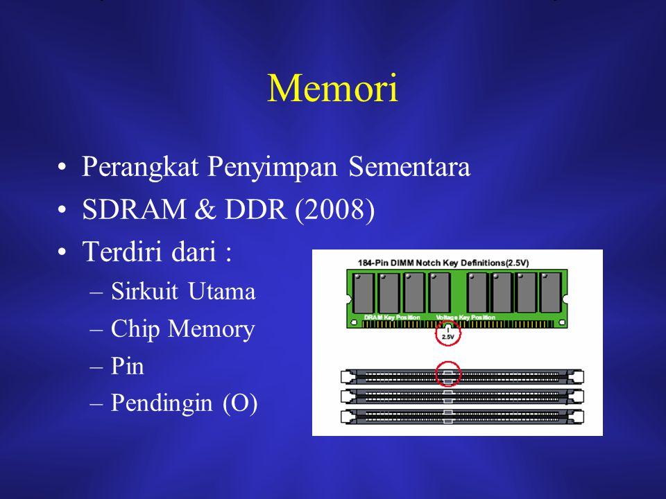 Memori Perangkat Penyimpan Sementara SDRAM & DDR (2008) Terdiri dari : –Sirkuit Utama –Chip Memory –Pin –Pendingin (O)