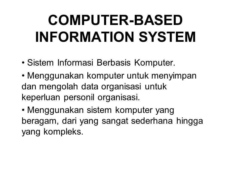 COMPUTER-BASED INFORMATION SYSTEM Sistem Informasi Berbasis Komputer. Menggunakan komputer untuk menyimpan dan mengolah data organisasi untuk keperlua