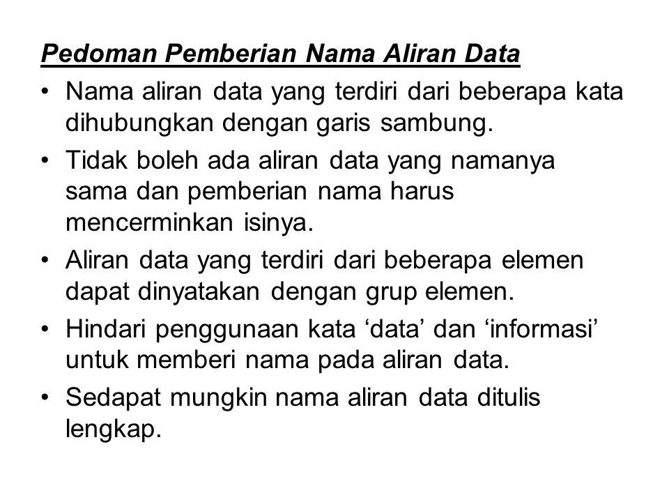 Pedoman Pemberian Nama Aliran Data Nama aliran data yang terdiri dari beberapa kata dihubungkan dengan garis sambung. Tidak boleh ada aliran data yang