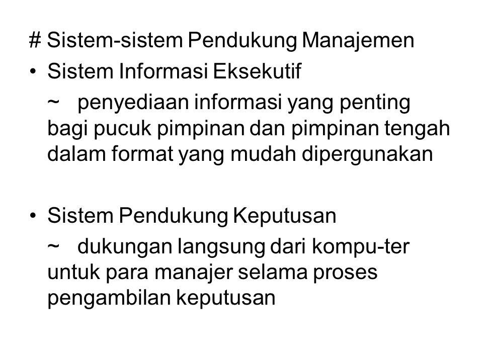 # Sistem-sistem Pendukung Manajemen Sistem Informasi Eksekutif ~penyediaan informasi yang penting bagi pucuk pimpinan dan pimpinan tengah dalam format