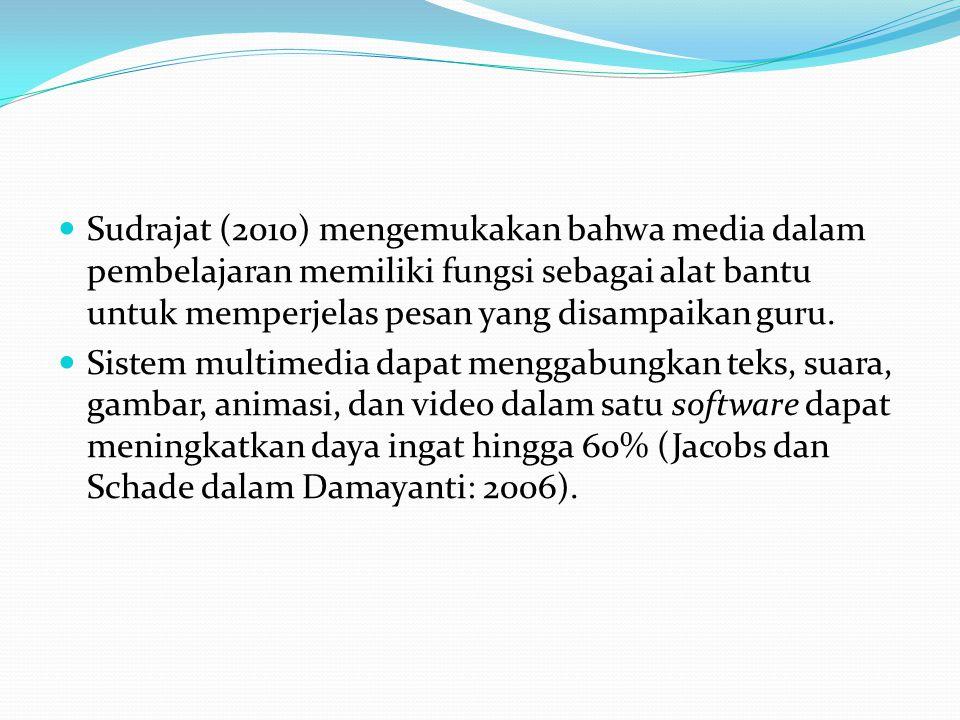Sudrajat (2010) mengemukakan bahwa media dalam pembelajaran memiliki fungsi sebagai alat bantu untuk memperjelas pesan yang disampaikan guru.