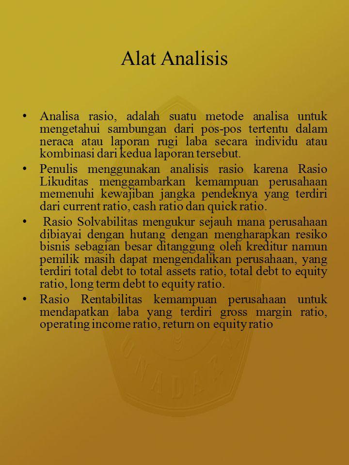 Alat Analisis Analisa rasio, adalah suatu metode analisa untuk mengetahui sambungan dari pos-pos tertentu dalam neraca atau laporan rugi laba secara individu atau kombinasi dari kedua laporan tersebut.