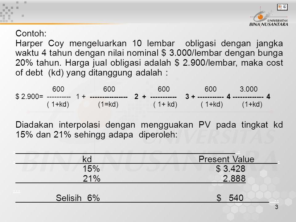 3 Contoh: Harper Coy mengeluarkan 10 lembar obligasi dengan jangka waktu 4 tahun dengan nilai nominal $ 3.000/lembar dengan bunga 20% tahun. Harga jua