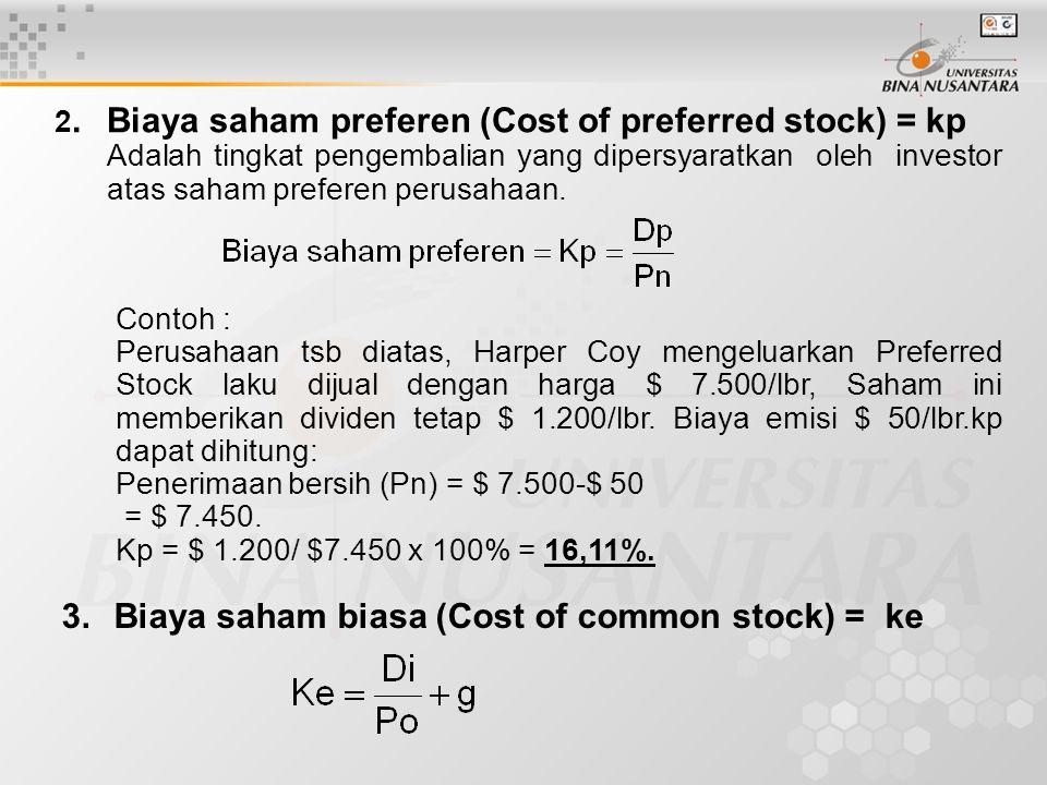 2.Biaya saham preferen (Cost of preferred stock) = kp Adalah tingkat pengembalian yang dipersyaratkan oleh investor atas saham preferen perusahaan. Co