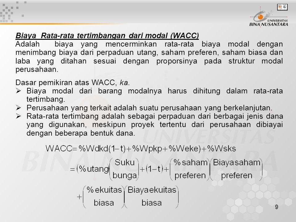9 Biaya Rata-rata tertimbangan dari modal (WACC) Adalah biaya yang mencerminkan rata-rata biaya modal dengan menimbang biaya dari perpaduan utang, sah