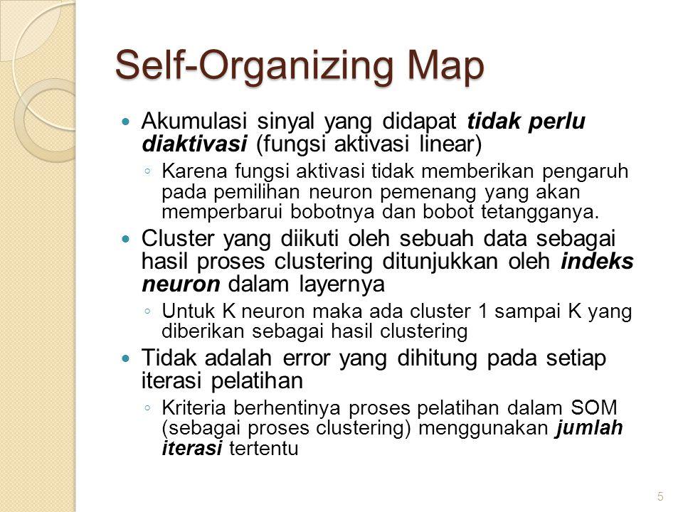 Self-Organizing Map Pada setiap iterasi untuk setiap data yang diproses, neuron dengan nilai keluaran terkecil akan mengalami perbaruan bobot bersama dengan tetangga yang didefinisikan.