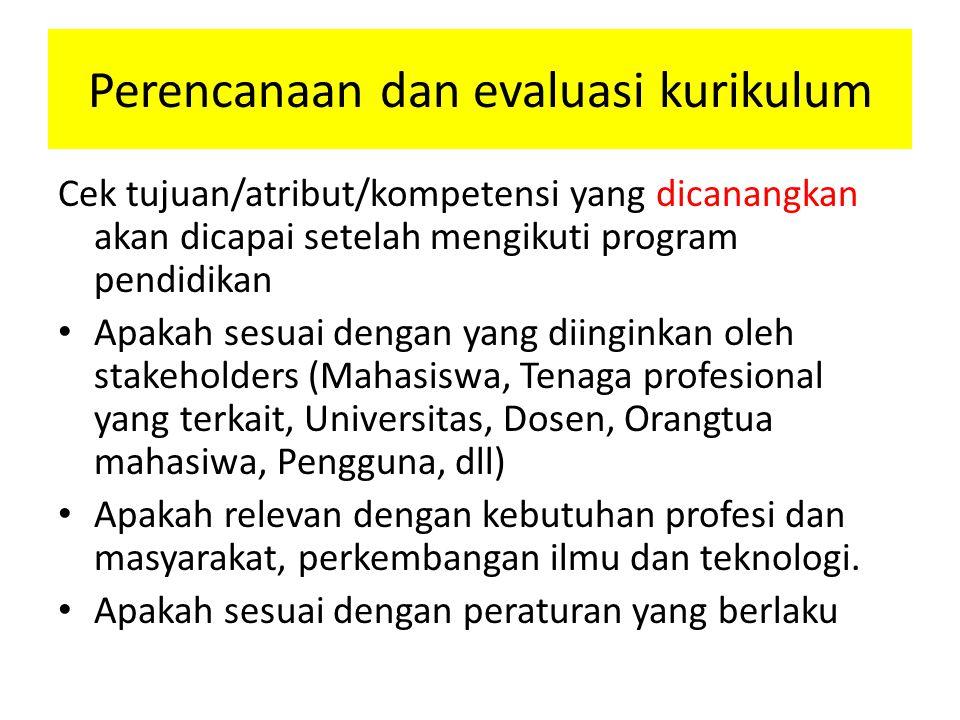 Perencanaan dan evaluasi kurikulum Cek tujuan/atribut/kompetensi yang dicanangkan akan dicapai setelah mengikuti program pendidikan Apakah sesuai deng
