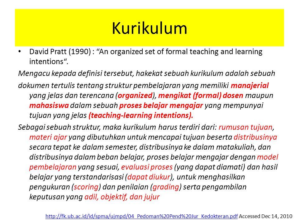 "Kurikulum David Pratt (1990) : ""An organized set of formal teaching and learning intentions"". Mengacu kepada definisi tersebut, hakekat sebuah kurikul"