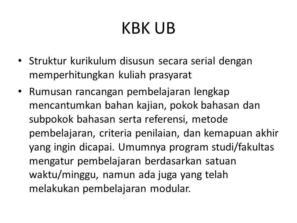 KBK UB Struktur kurikulum disusun secara serial dengan memperhitungkan kuliah prasyarat Rumusan rancangan pembelajaran lengkap mencantumkan bahan kaji
