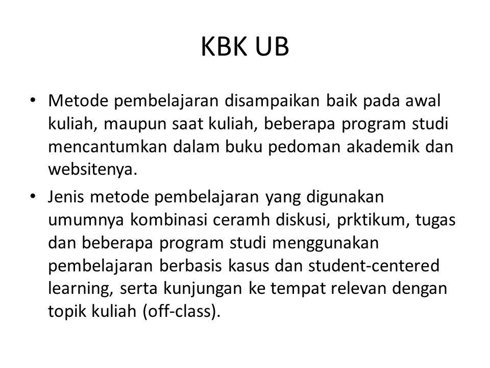 KBK UB Metode pembelajaran disampaikan baik pada awal kuliah, maupun saat kuliah, beberapa program studi mencantumkan dalam buku pedoman akademik dan