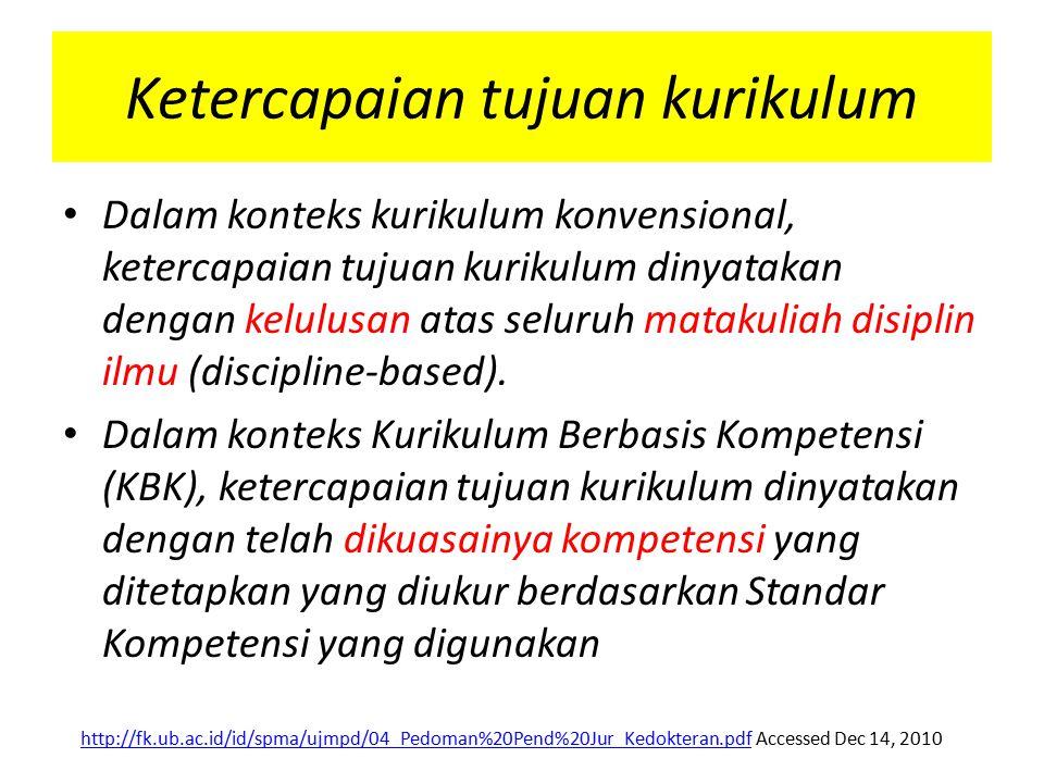 Ketercapaian tujuan kurikulum Dalam konteks kurikulum konvensional, ketercapaian tujuan kurikulum dinyatakan dengan kelulusan atas seluruh matakuliah disiplin ilmu (discipline-based).