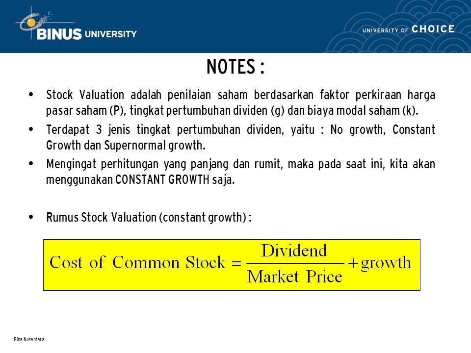 Bina Nusantara NOTES : Stock Valuation adalah penilaian saham berdasarkan faktor perkiraan harga pasar saham (P), tingkat pertumbuhan dividen (g) dan