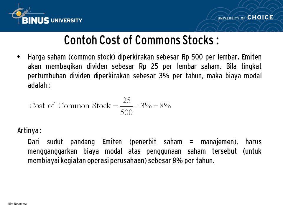 Bina Nusantara Contoh Cost of Commons Stocks : Harga saham (common stock) diperkirakan sebesar Rp 500 per lembar. Emiten akan membagikan dividen sebes