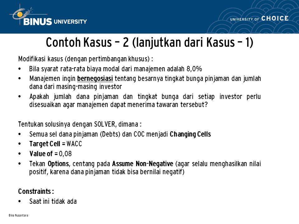 Bina Nusantara Contoh Kasus – 2 (lanjutkan dari Kasus – 1) Modifikasi kasus (dengan pertimbangan khusus) : Bila syarat rata-rata biaya modal dari mana