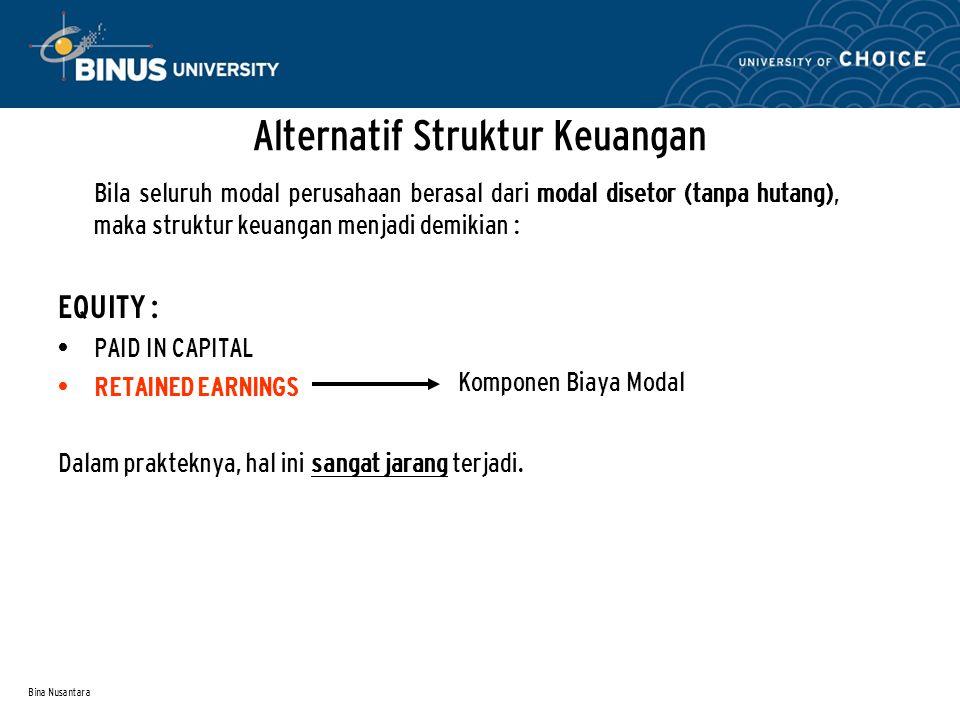 Bina Nusantara Alternatif Struktur Keuangan Bila sebagian modal perusahaan berasal dari modal disetor, sisanya dengan hutang, maka struktur keuangan menjadi demikian : LIABILITY : CURRENT LIABILITY LONG-TERM LIABILITY EQUITY : PAID IN CAPITAL RETAINED EARNINGS Komponen Biaya Modal